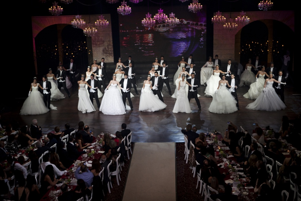 JOUNIEH, LEBANON Debutante ladies dance with their partner at the Debutante Ball infront of an audience of 600 people, tickets for the Ball ranged from $150 or $200.