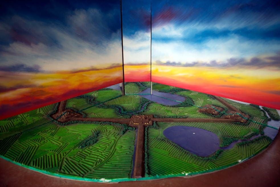 A miniature model shows the original appearance of the landscape of the The Hydraulic Civilizations of Mojos at the Kenneth Lee Museum in Trinidad.