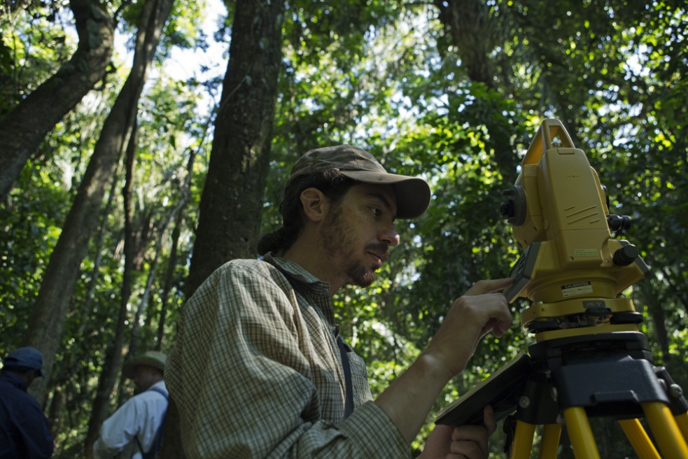 Archeologist Eduardo Machicado and his team map the area of Estancia La Estrella near San Ignacio where there are numerous ancient 'Camellones'.