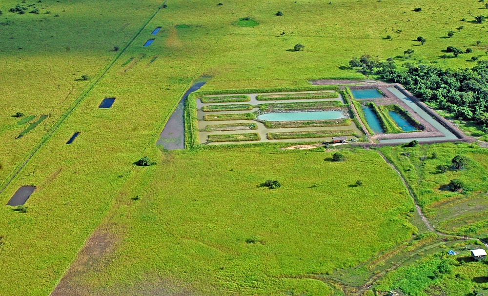 Aerial view of the Oxfam-funded project in Trinidad.