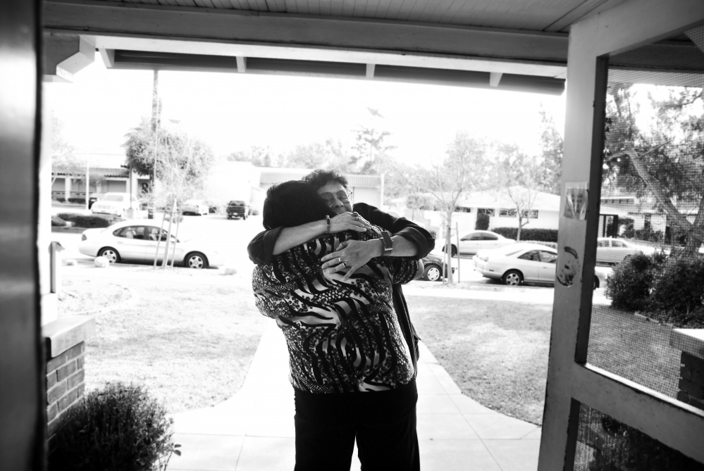Mary Hields embraces a long-time friend and advocate one week after being released from Central California Women's Facility. Mary served 19 years for a crime related to domestic violence.