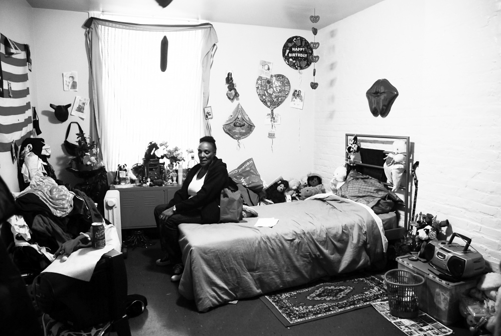 Molly's room at the Empress Hotel in San Francisco's Tenderloin district. The first stable living she has had since the cycle of incarceration and chronic homelessness began in her life. Molly chooses to self-medicate with street drugs complicating a city imposed mental health plan dependent on her sustained cooperation. Pictured here in her room at the Empress Hotel in downtown San Francisco. Molly chooses to self-medicate with street drugs complicating a city imposed mental health plan dependent on her sustained cooperation. Pictured here in her room at the Empress Hotel in downtown San Francisco.