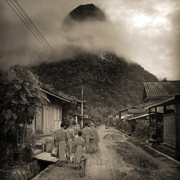 Art and Documentary Photography - Loading ©CherylKoralik_Buddhist monks and novices walking to morning alms in Muong Ngoi, Laos..jpg