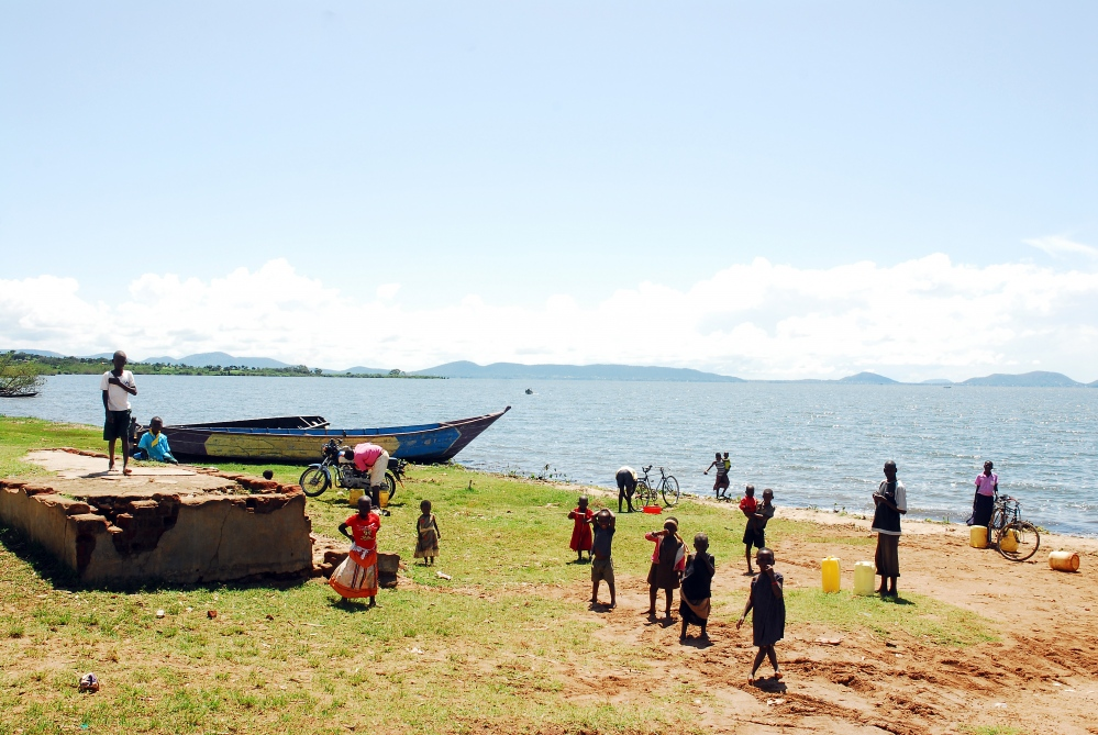 Town Children from the fishing village of Lugala on the shore of Lake Victoria, in Uganda.