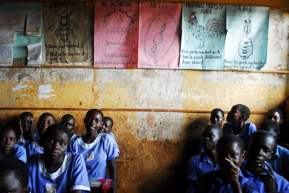 Students at Murchison Bay Primary School in Kampala.