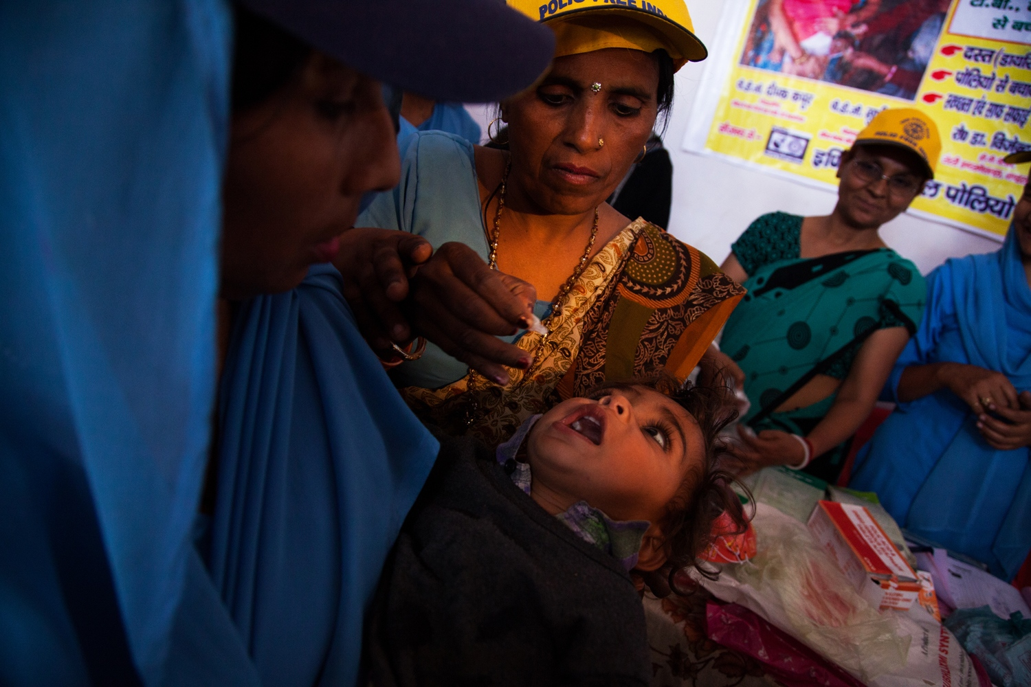 A child being vaccinated for polio in Moradabad, India.