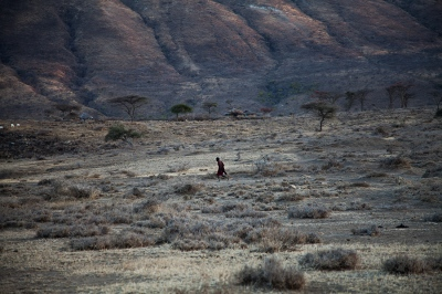 A Maasai warrior outside Mkuru, northern Tanzania.