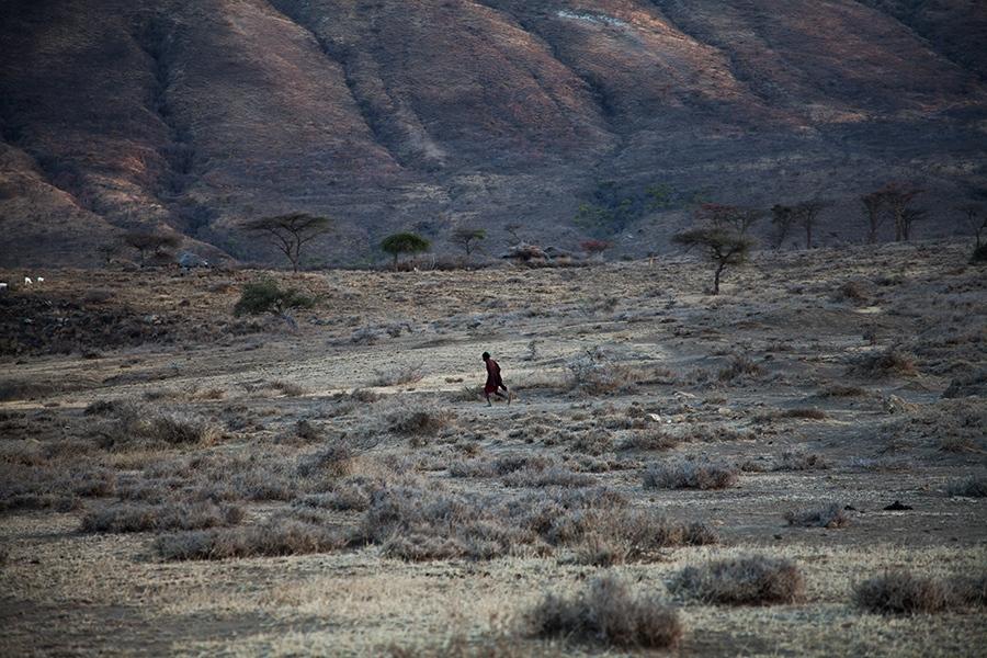 A Maasai warrior outside Mkuru, northern Tanzania.