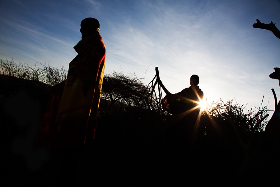 Pello Niasaja (left), the oldest man in Mkuru, a sub-village in northern Tanzania, supervises his family's cows and goats at sunrise helped by his sons and grandsons.