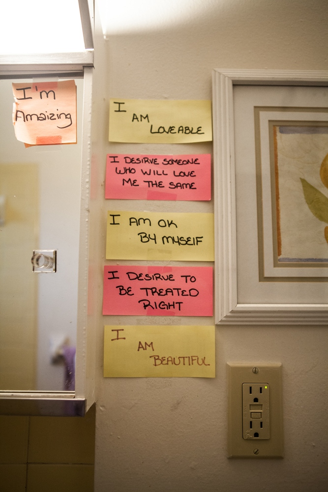 Post-its in the bathroom of Melanie Dillon, 34, a sex trafficking survivor in Columbus, Ohio. Melanie's daughter, Ariel Pace, 10, wrote the post-its to encourage her mother as she recovered from heroin addiction and sex trafficking.