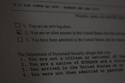 A deportation order received by an undocumented Ecuadorean immigrant in Queens, NY, USA.