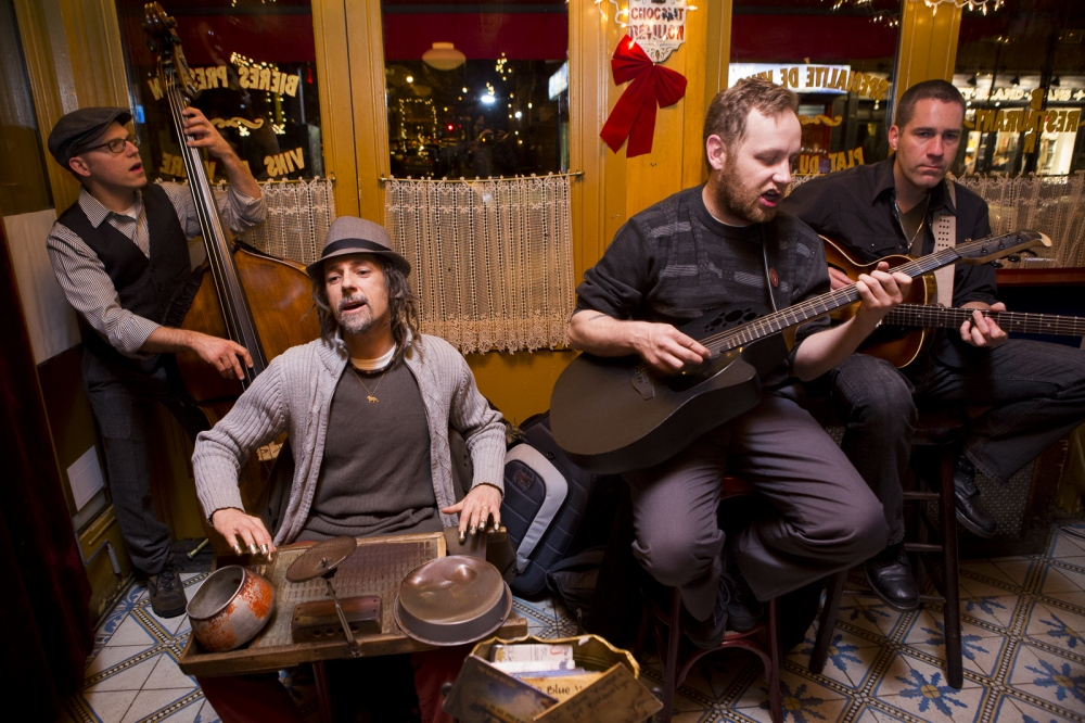 December 10, 2013. BROOKLYN, NY. The Blue Vipers of Brooklyn. From left, Chris Pistorino, David Langlois, Billy Nemec and Tim Clement perform at Bar Tabac. On assignment for The Wall Street Journal
