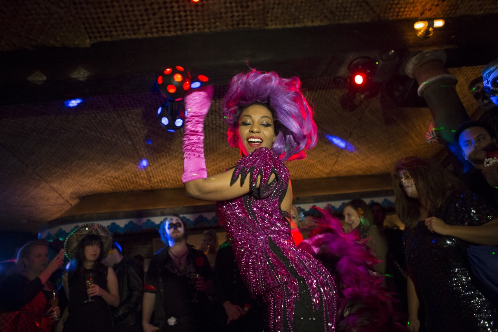 April 2013. NEW YORK, NY. Delysia Le Chatte performs at the Seven Deadly Sins-themed supper club dinner in Chinatown. On assignment for The Wall Street Journal