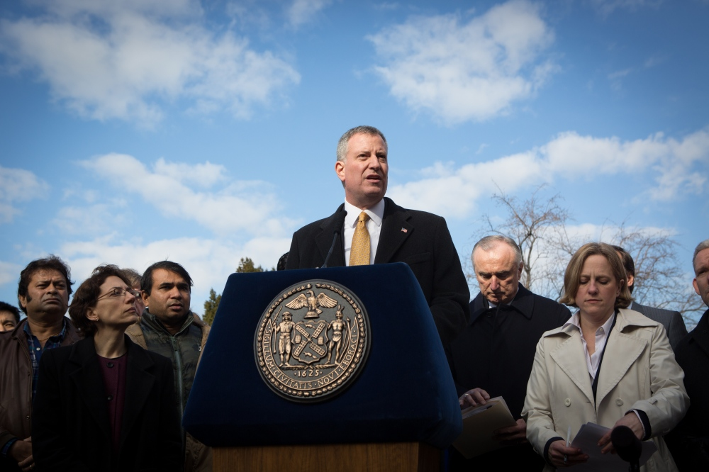 "January 15, 2014. QUEENS, NY. New York City Mayor Bill De Blasio holds a press conference in Queens to launch his ""vision zero"" campaign to reduce pedestrian fatalities to zero within 10 years. On assignment for Transportation Alternatives."