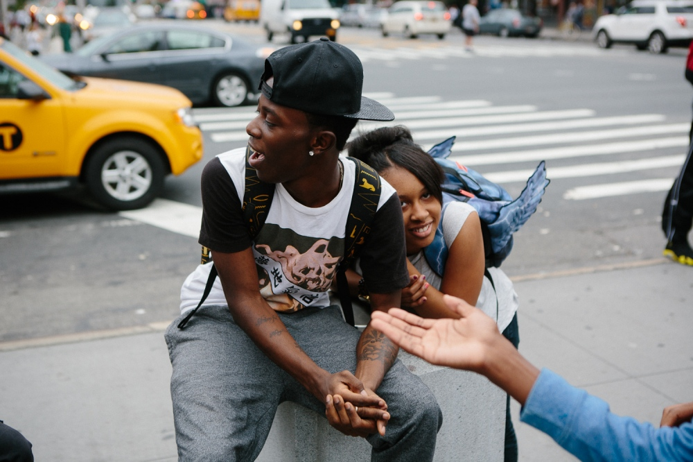 Teens after school in front of Atlantic Terminal Mall in Brooklyn in September 2014.