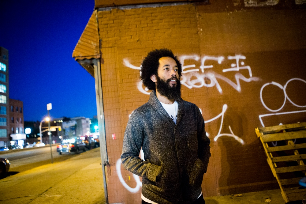 Wyatt Cenac, actor, writer, comedian and former 'Daily Show' correspondent before his weekly comedy show Night Train at Littlefield in Gowanus, Brooklyn. On assignment for The Wall Street Journal .