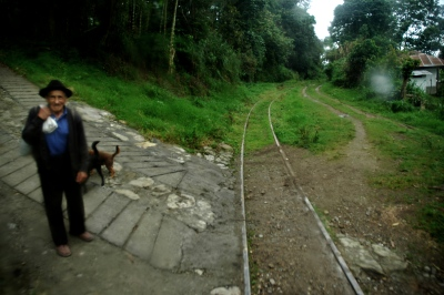 Cundinamarca, Colombia, heritage touristic train (train of the Sabana) in motion near to Nemocom town station.