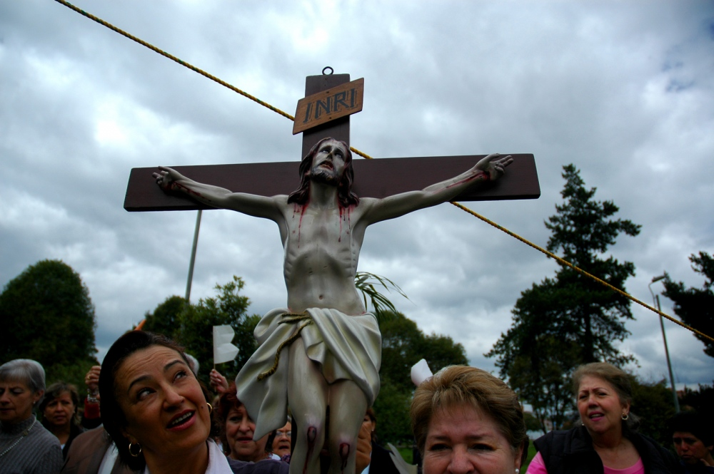 Bogota,Colombia, religion procession into a healthy neighborhood at North of the city.