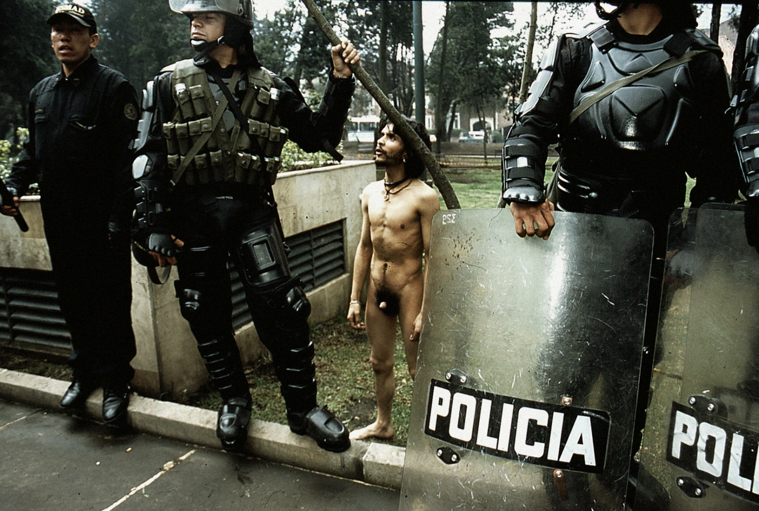 Bogota, Colombia naked protest during a rally for civil rights in the capital street.
