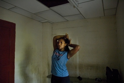 Cartagena,Colombia,female boxer after training routine in spite of insufficient support for female boxing in Colombia.