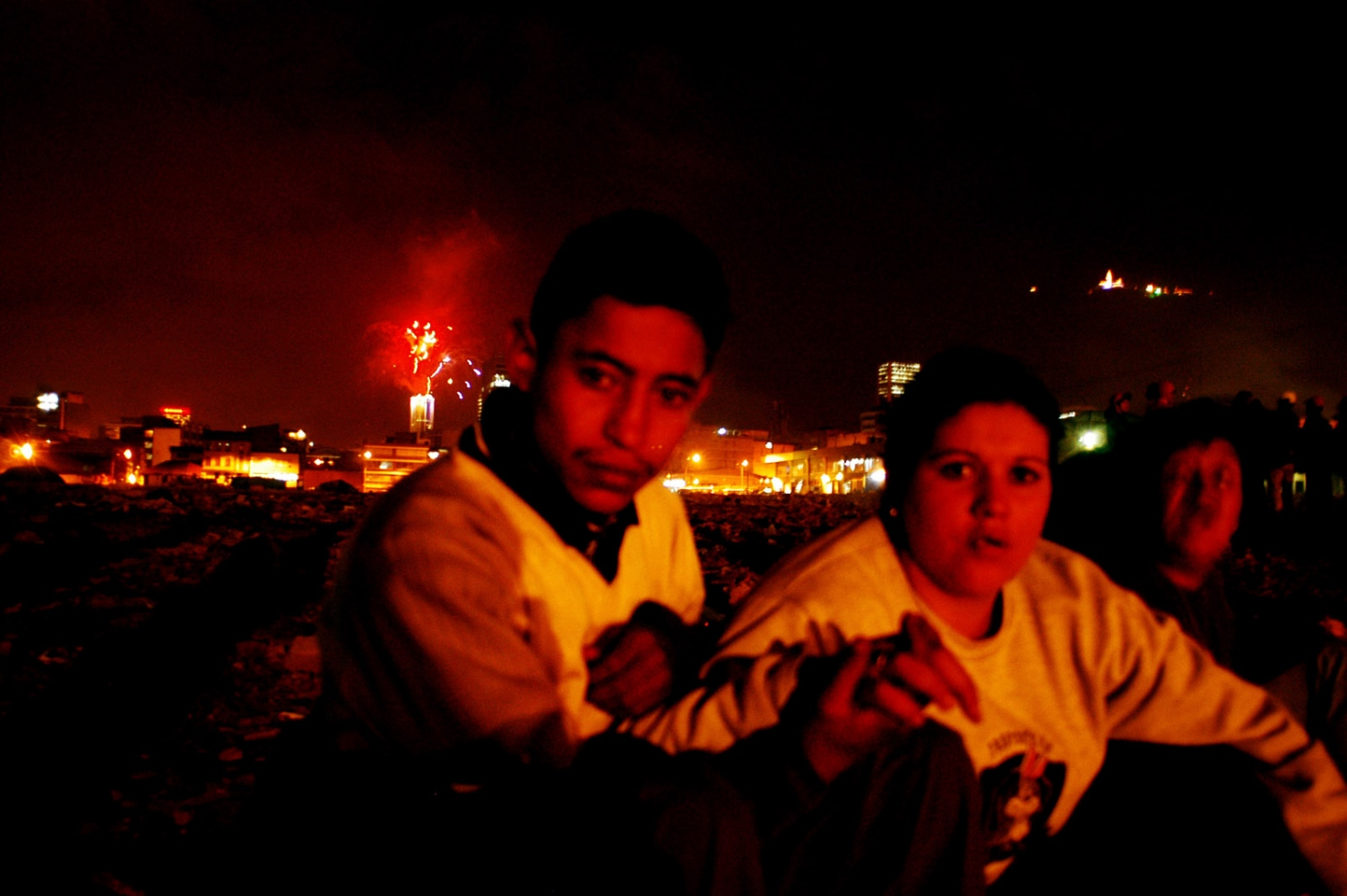 """Bogota Colombia, a Couple in the street of """"el Catucho"""" that was one of the poorest and most dangerous areas in Colombia this street was destroyed and replaced by a park."""