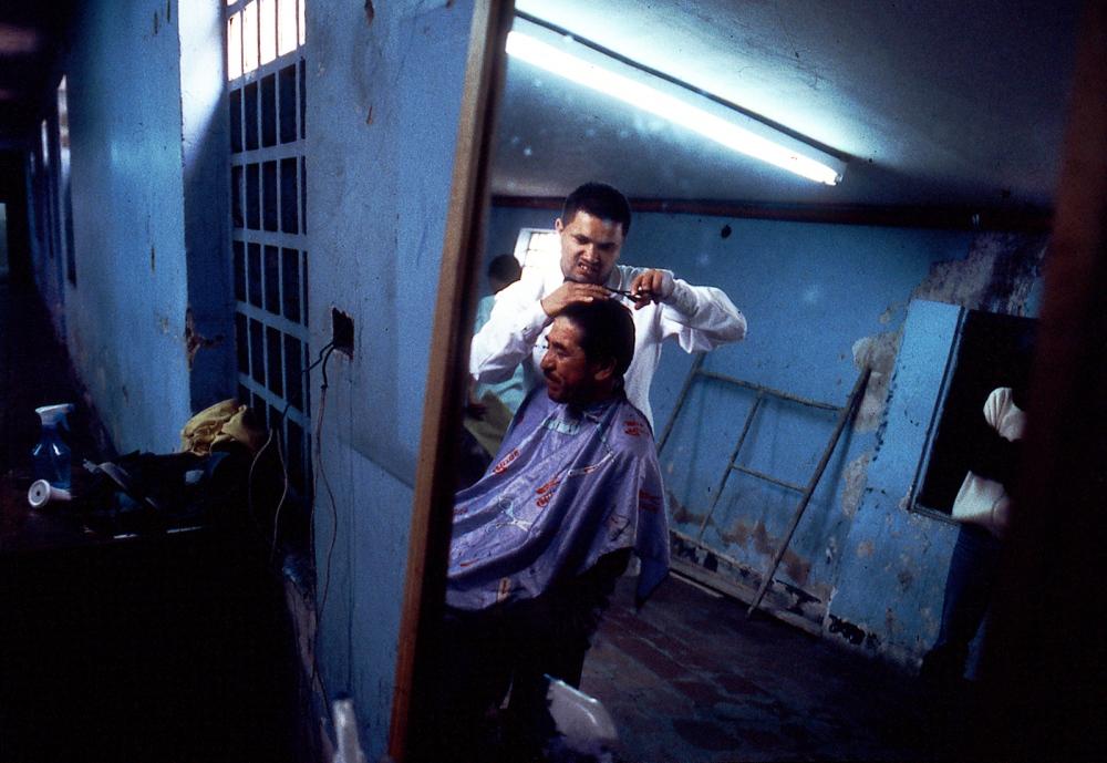 "Bogota Colombia prisoners cut hair into the barbershop of the Central Penitentiary ""La Picota""."