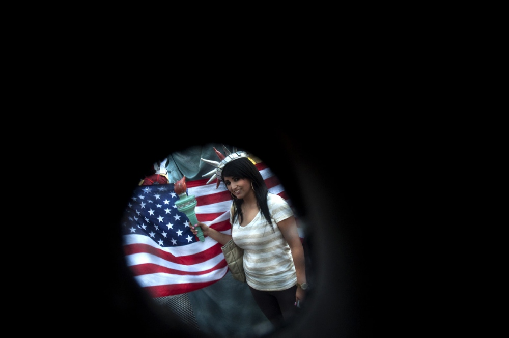 New York,US, view right through an eye hole in the head of my Hello Kitty costume in Times Square.