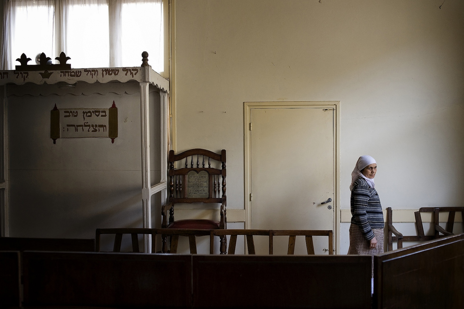 2010 - Raabh Amssnu, the guardian of the Synagogue in Kenitra, Morocco. Her husband began working at the synagogue when he was 19, but has since passed. Now she and her son Rachid continue the work.