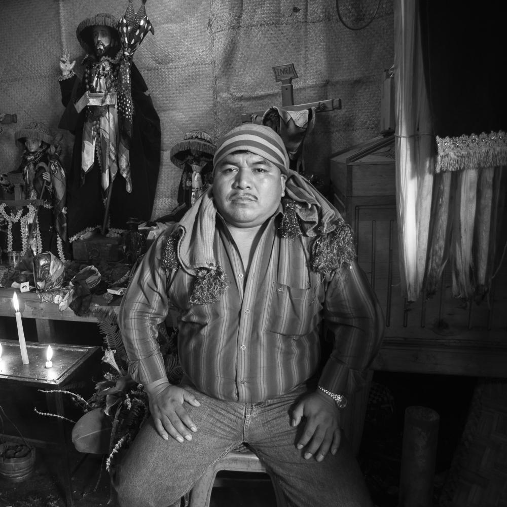 Juan Mendoza, Maya priest in a ceremonial room in Santiago Atitlán