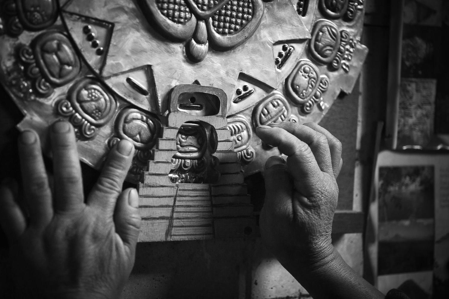 Don Samuel, shaman, with the ritual Maya calendar