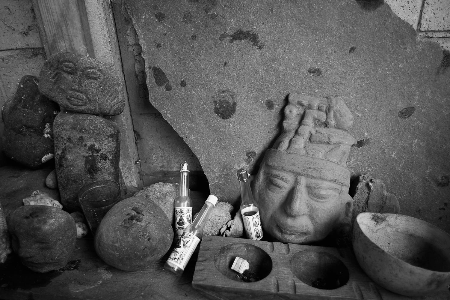 Sacred altar with Maya masks