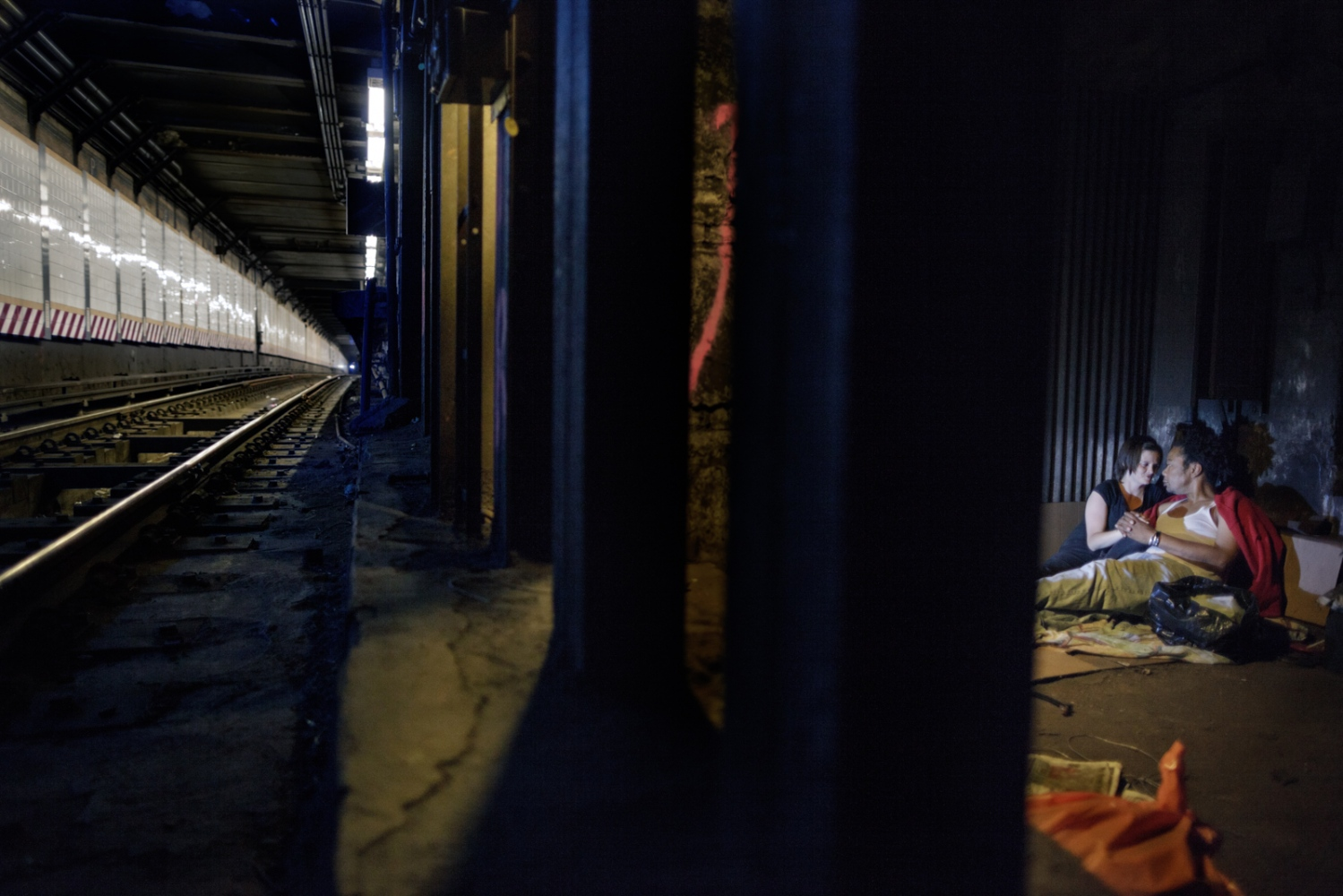 There is a vibrant world behind and beneath our surfaces. Jamaica and Zoe take refuge by the tracks. They slept in subway tunnels for more then two years before getting married and leaving the streets.