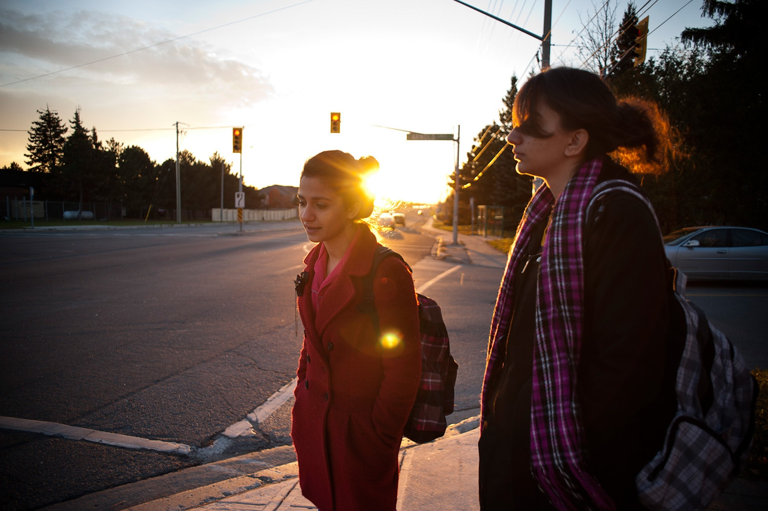 RICHMOND HILL, CANADA - 02/11/10 - Soheila and her younger sister walk home from school. Having the other sister around in school helps and make the transition into the new school and culture much easier.