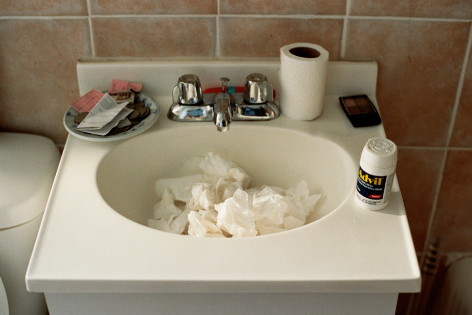 Sink full of tissues after a night of heavy use, Brooklyn, NY