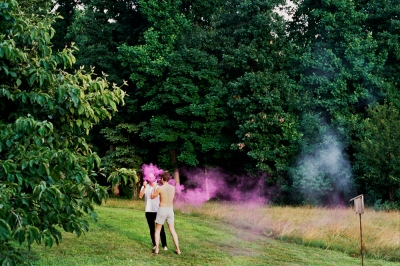 Collin and Denis playing with smoke bombs, Cold Spring, NY