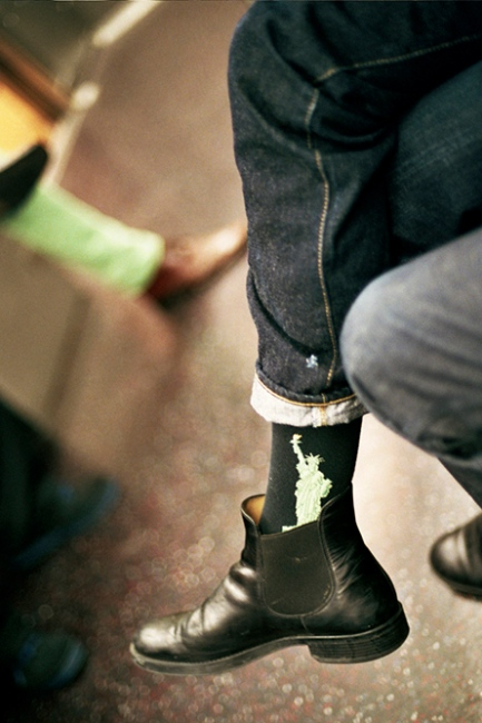 Denis's socks on the train, New York, NY