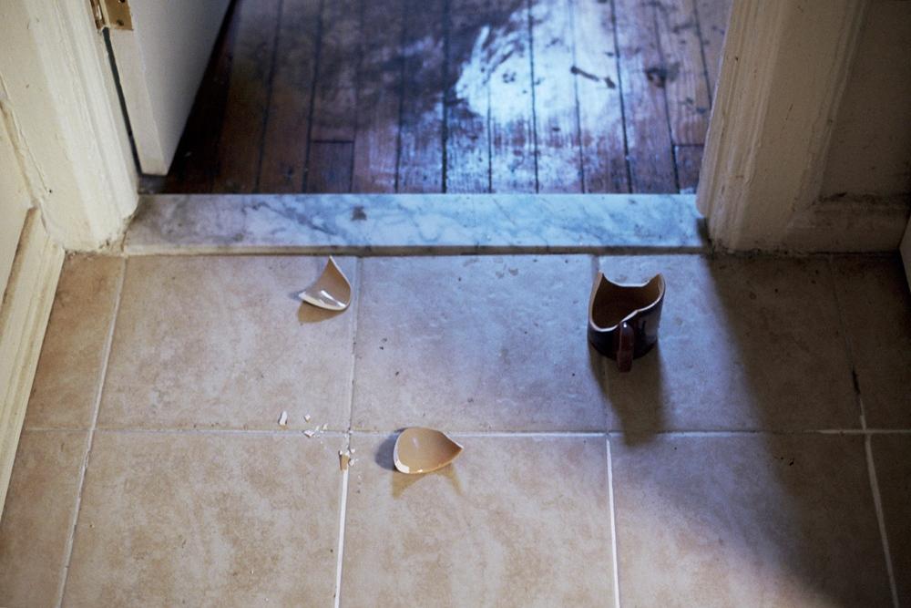 The broken mug on my kitchen floor, Brooklyn, NY