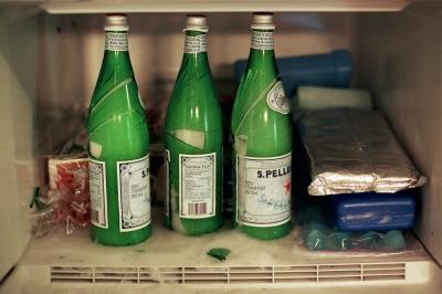 Broken bottles in the freezer, New York, NY