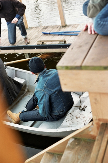 Denis in a rowboat, Upstate New York