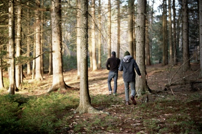 Malcolm and Collin in the woods, Upstate New York