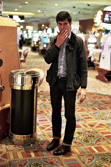 Peter smoking in the casino, Atlantic City, NJ