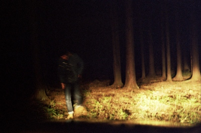 Denis walking out of the woods, Upstate New York