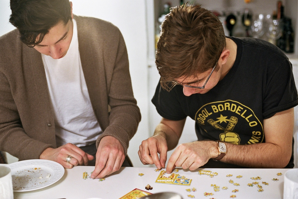 Malcolm and Denis doing a puzzle, Beacon, NY