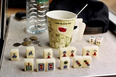 Mah Jong and tea on the train, Northern Thailand