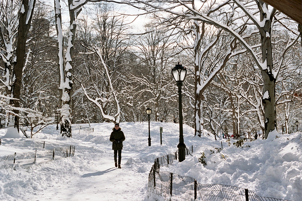 Denis walking through the snow in Central Park, New York, NY