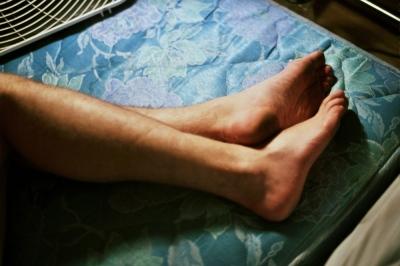 Charlie's legs on a mattress, Baltimore, MD