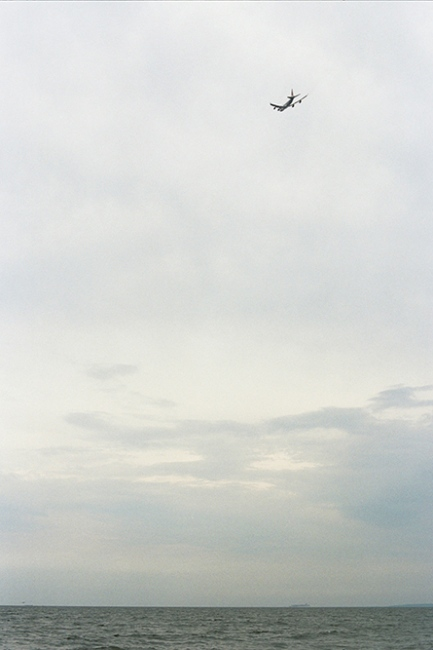 A plane over Ft. Tilden, Brooklyn, NY
