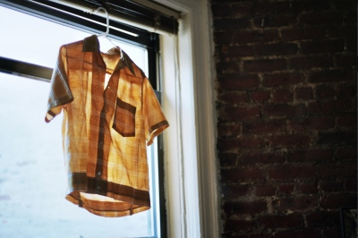 Sean's shirt hanging in the window, Brooklyn, NY
