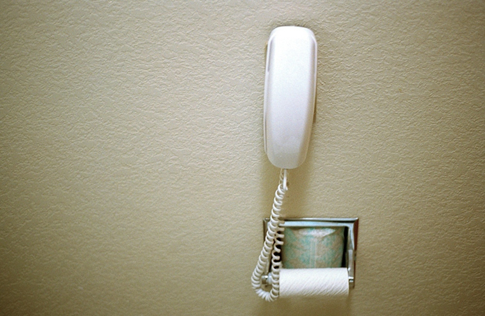 A telephone in the bathroom of the motel, Salt Lake City, UT