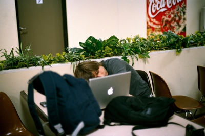 Denis asleep in the airport, Moscow, Russia